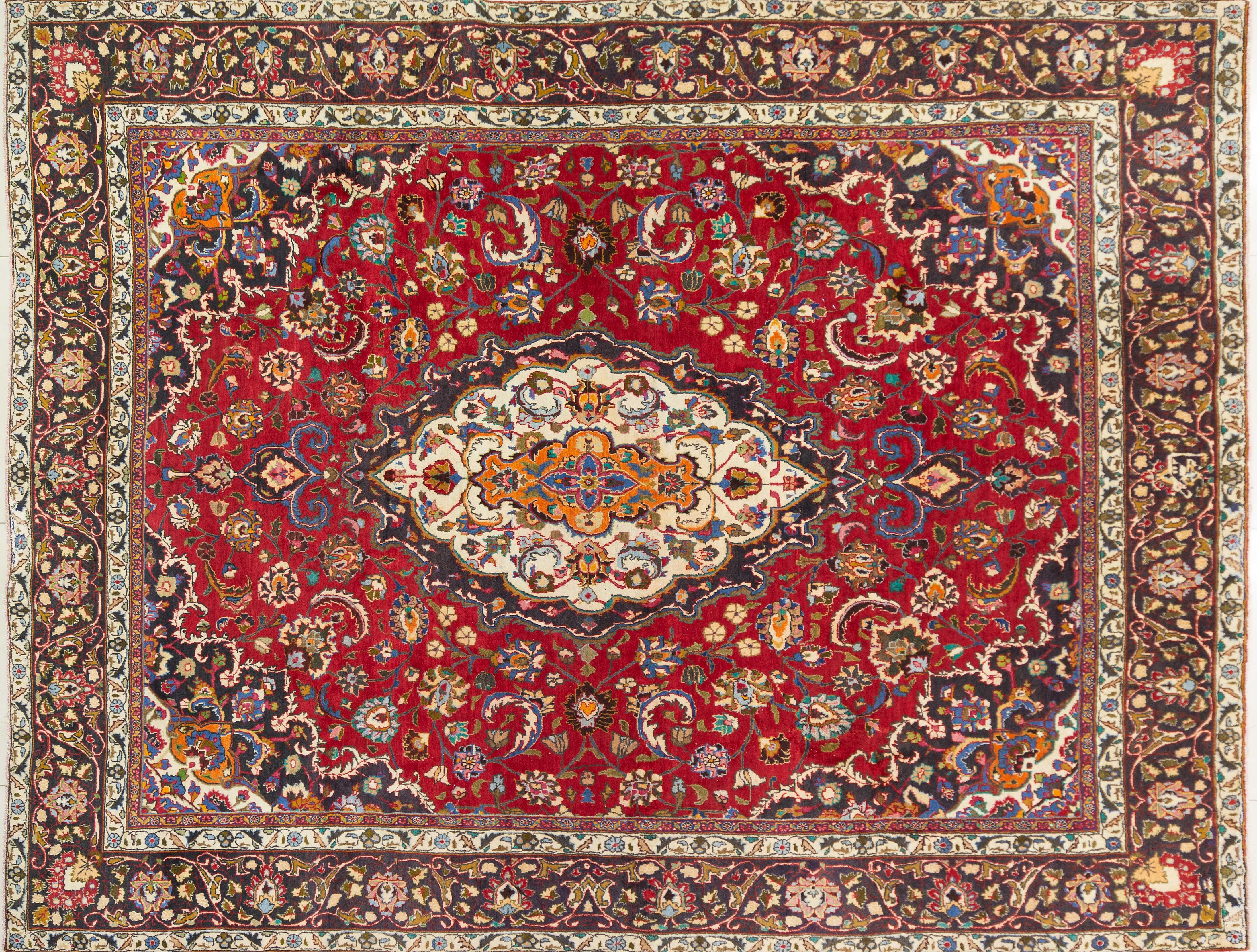 A Persian Hand Knotted Mashad Carpet, 370 x 289