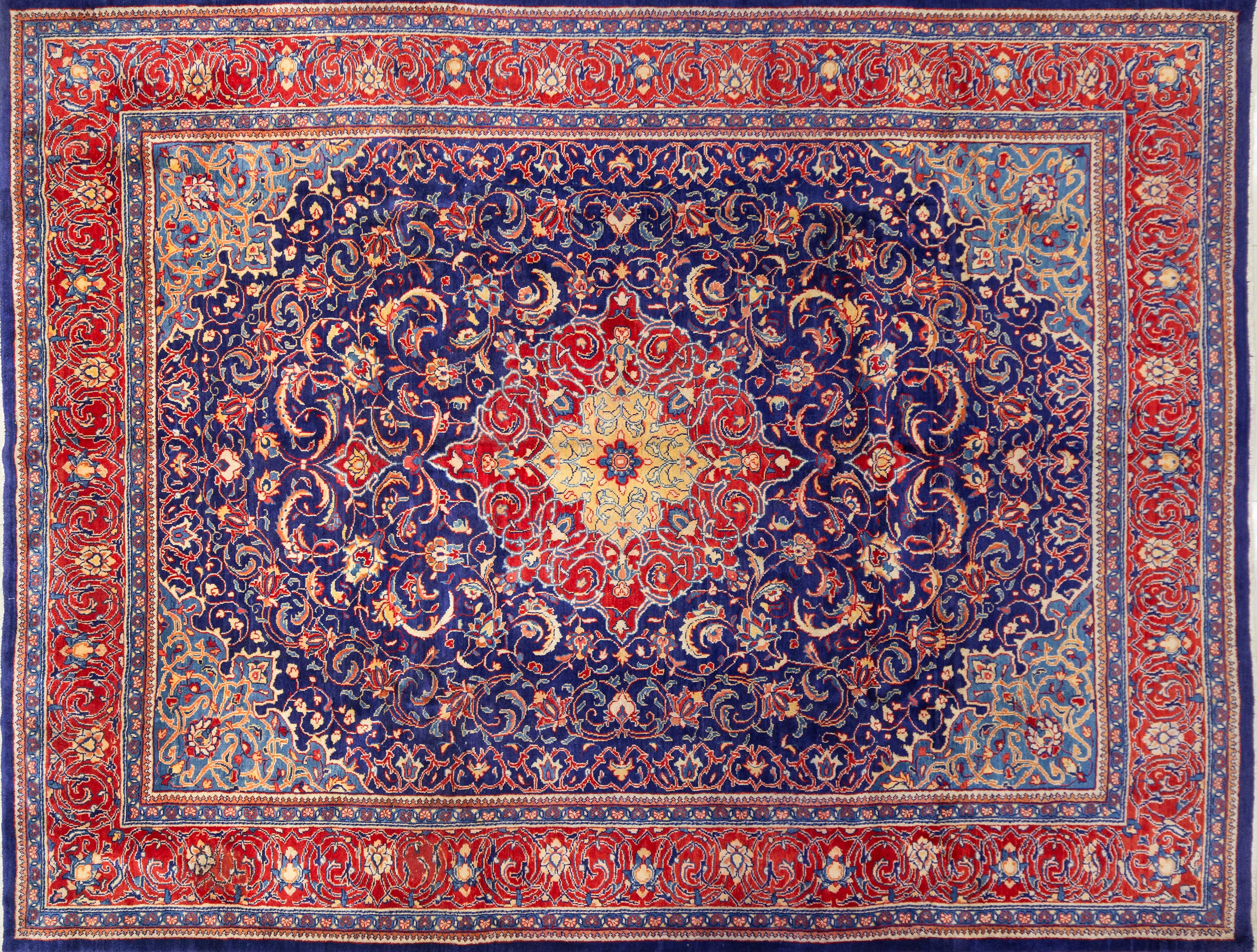 A Persian Hand Knotted Mashad Carpet, 390 x 300