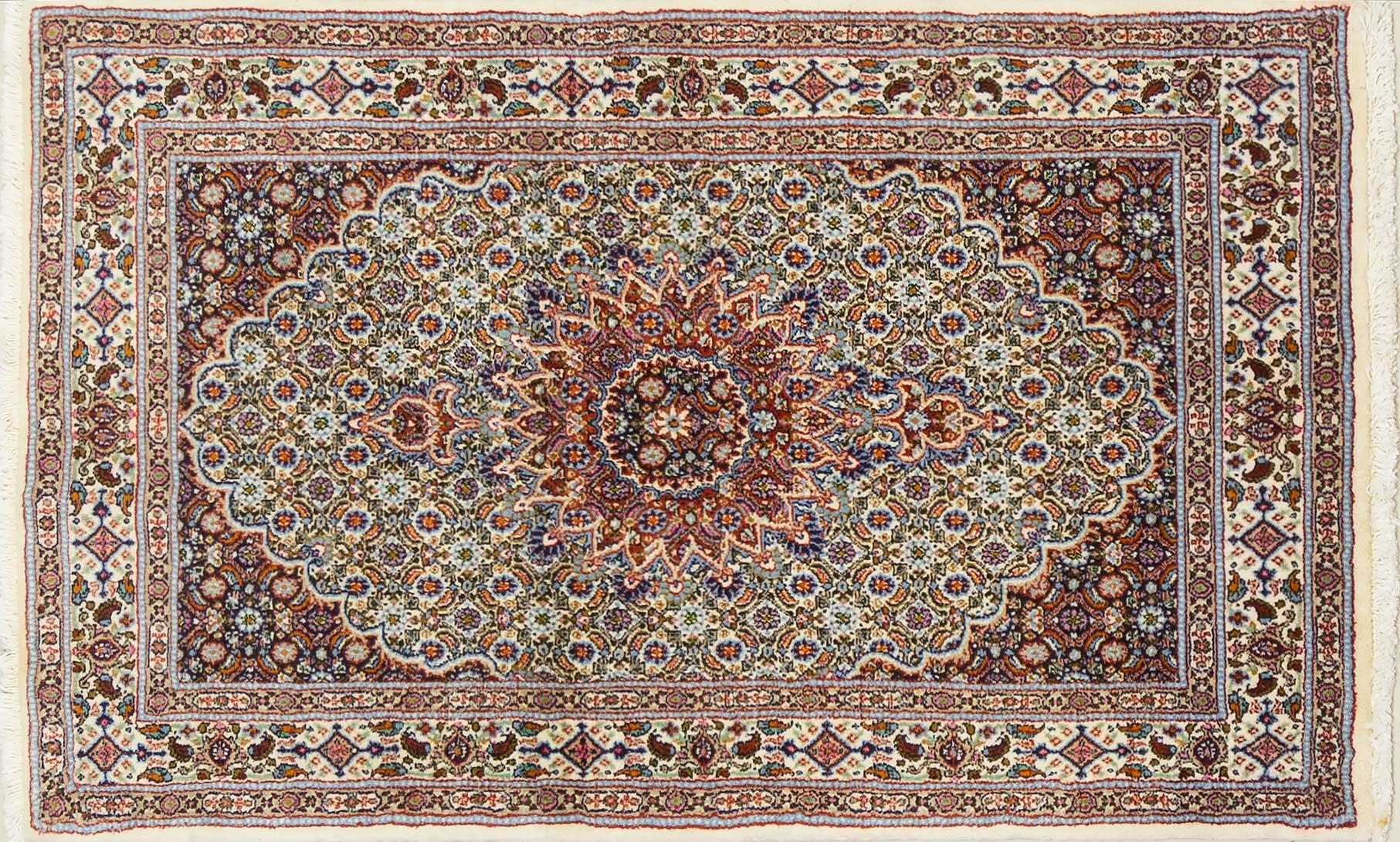 A Persian Hand Knotted Moud Rug, 152 x 93
