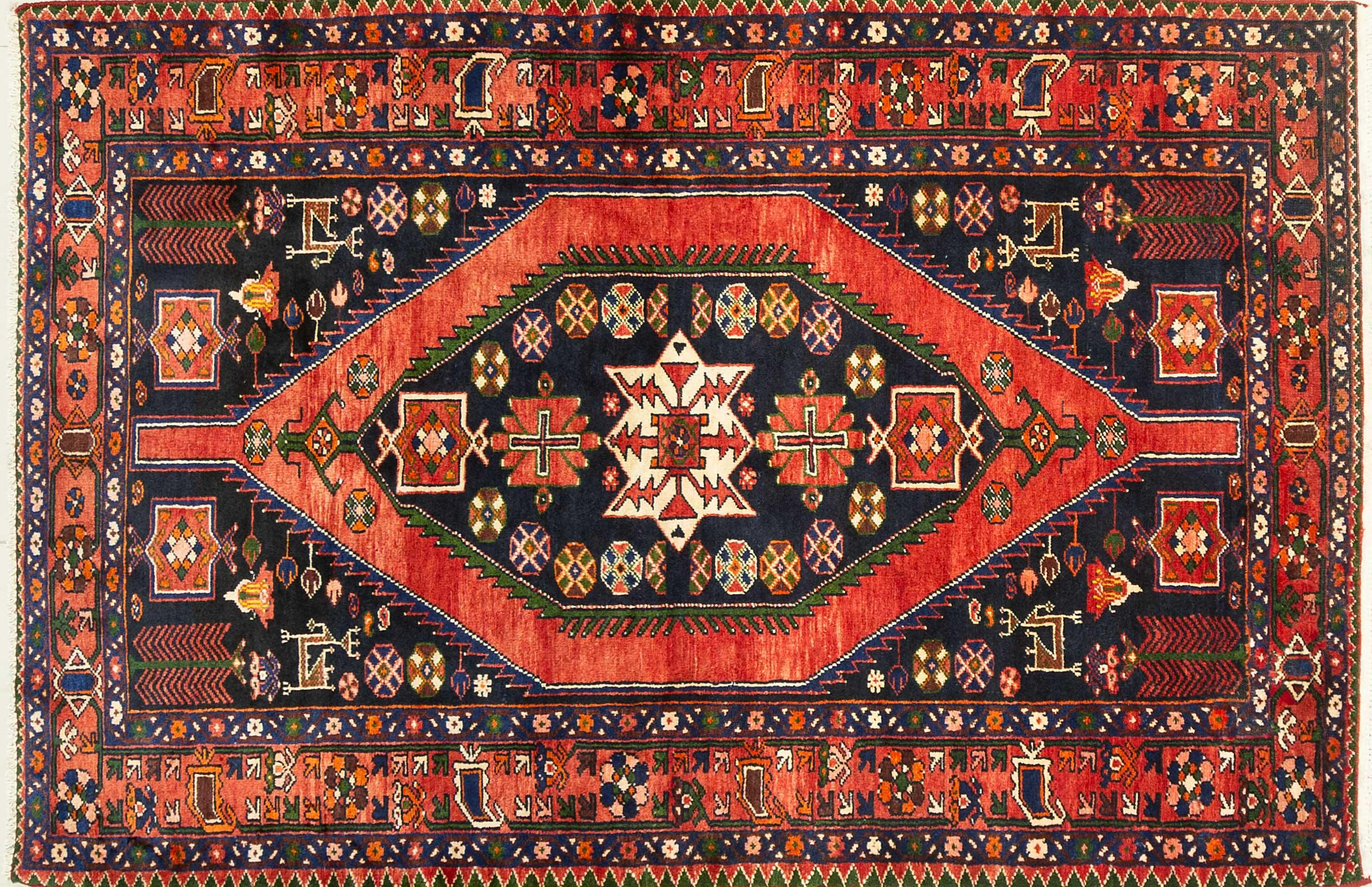 A Persian Hand Knotted Hamadan Rug, 215 x 152