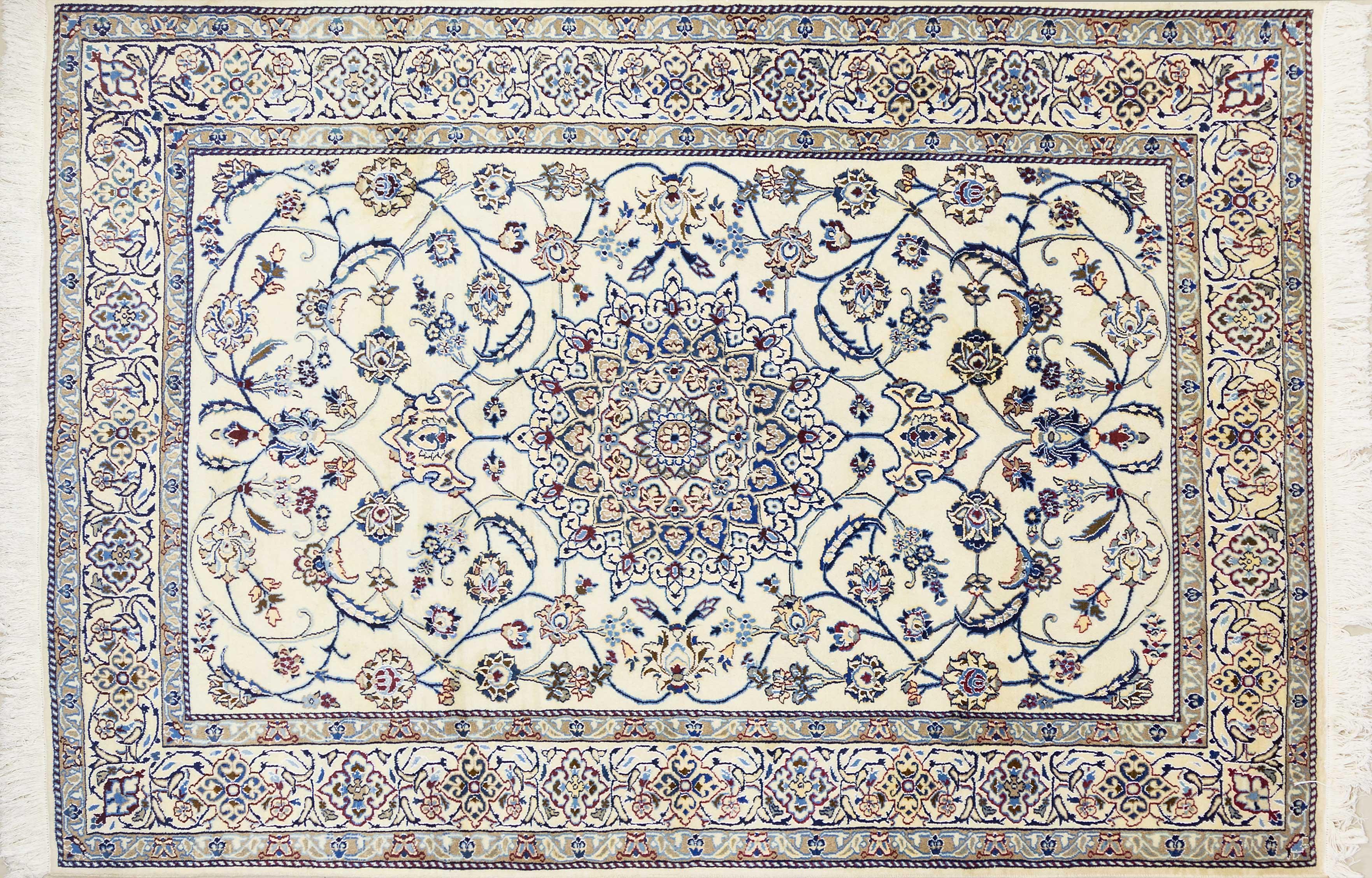 A Persian Hand Knotted Nain Carpet, 292 x 200