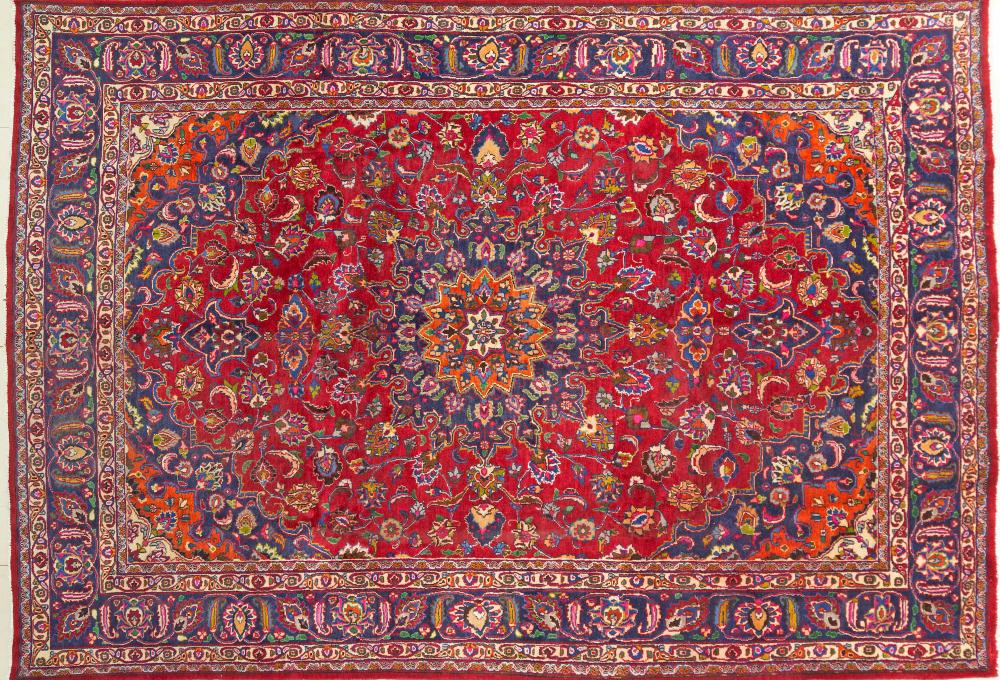 A Persian Hand Knotted Mashad Carpet, 358 x 252