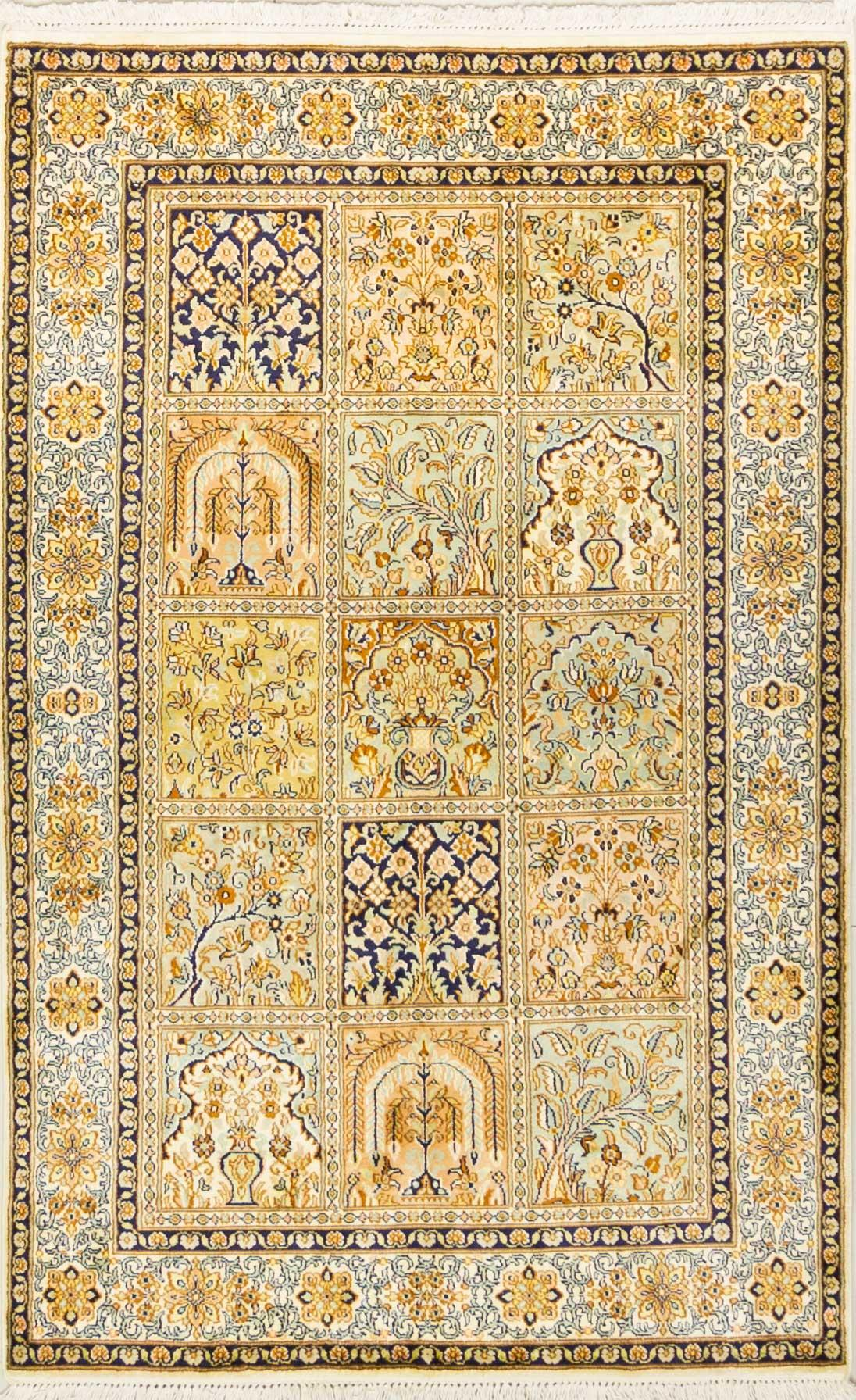 A Hand Knotted Silk Keshmiri Rug, 152 x 97