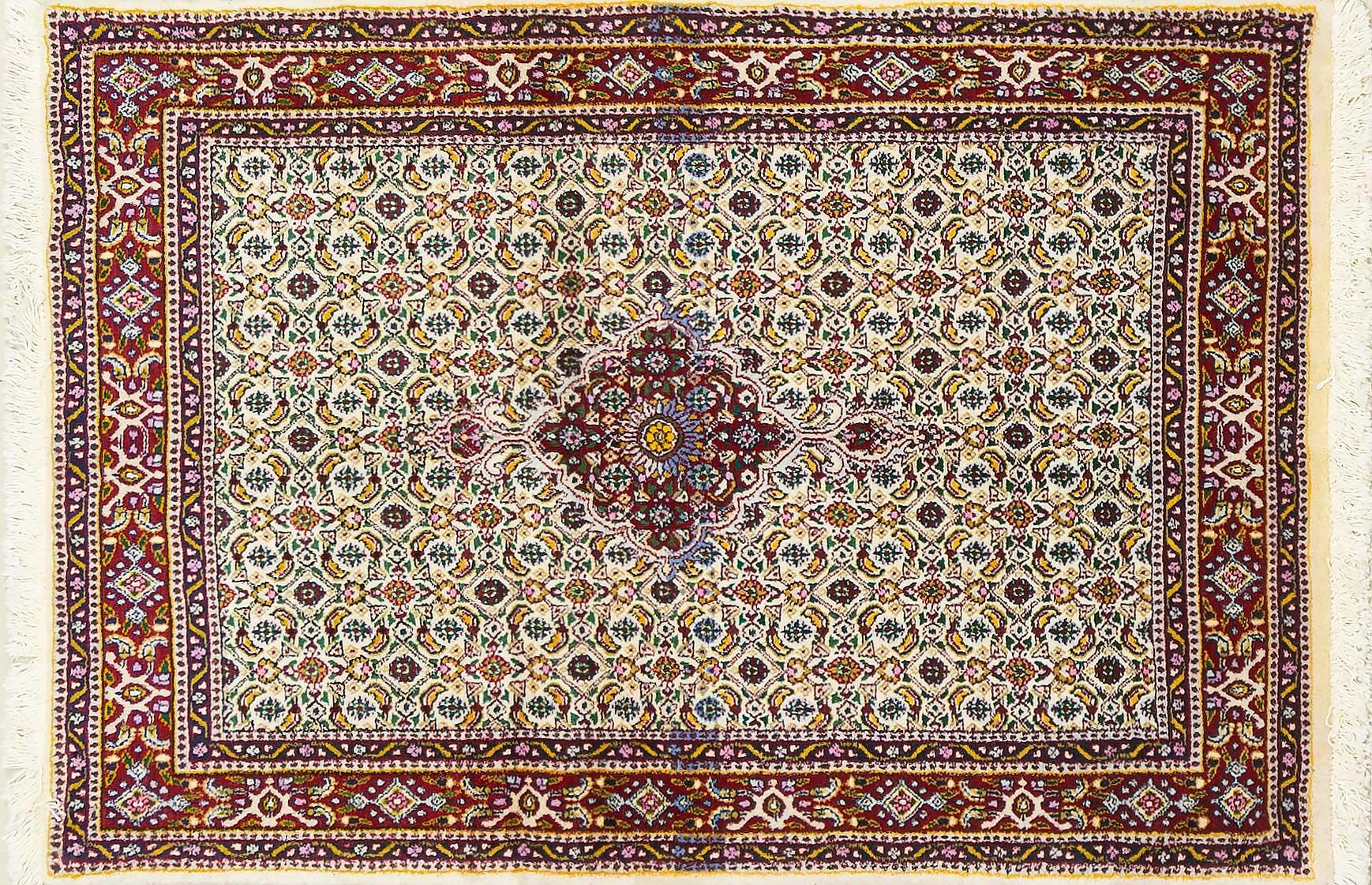 A Persian Hand Knotted Moud Rug, 143 x 96