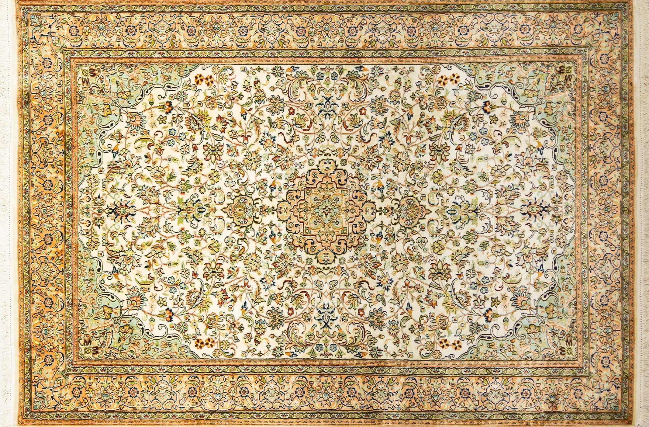 A Hand Knotted Silk Keshmiri Rug, 179 x 125