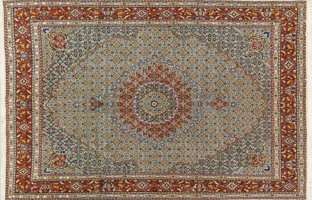 A Persian Hand Knotted Moud Carpet, 302 x 202