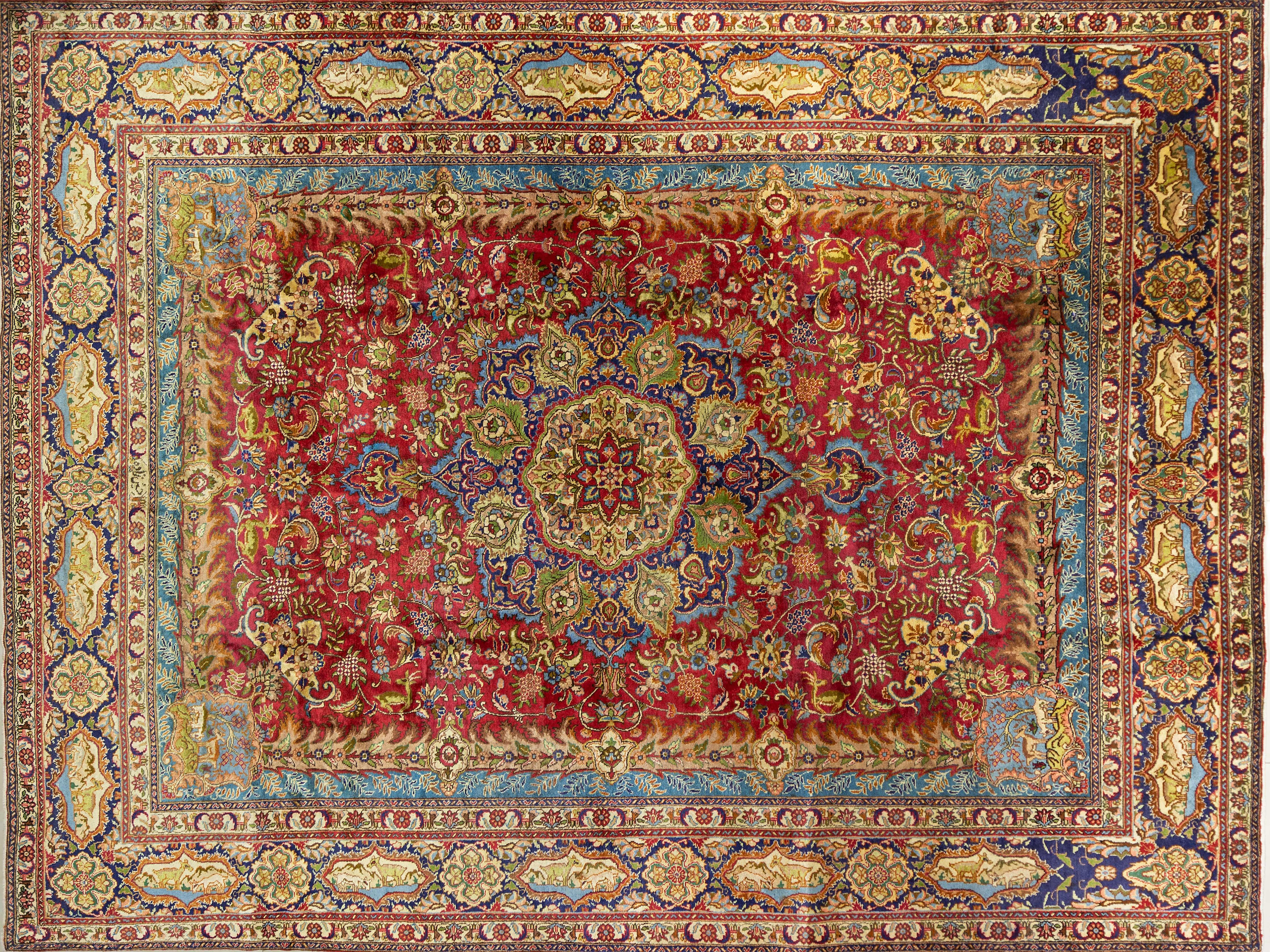 A Persian Hand Knotted Tabriz Carpet, 395 x 295