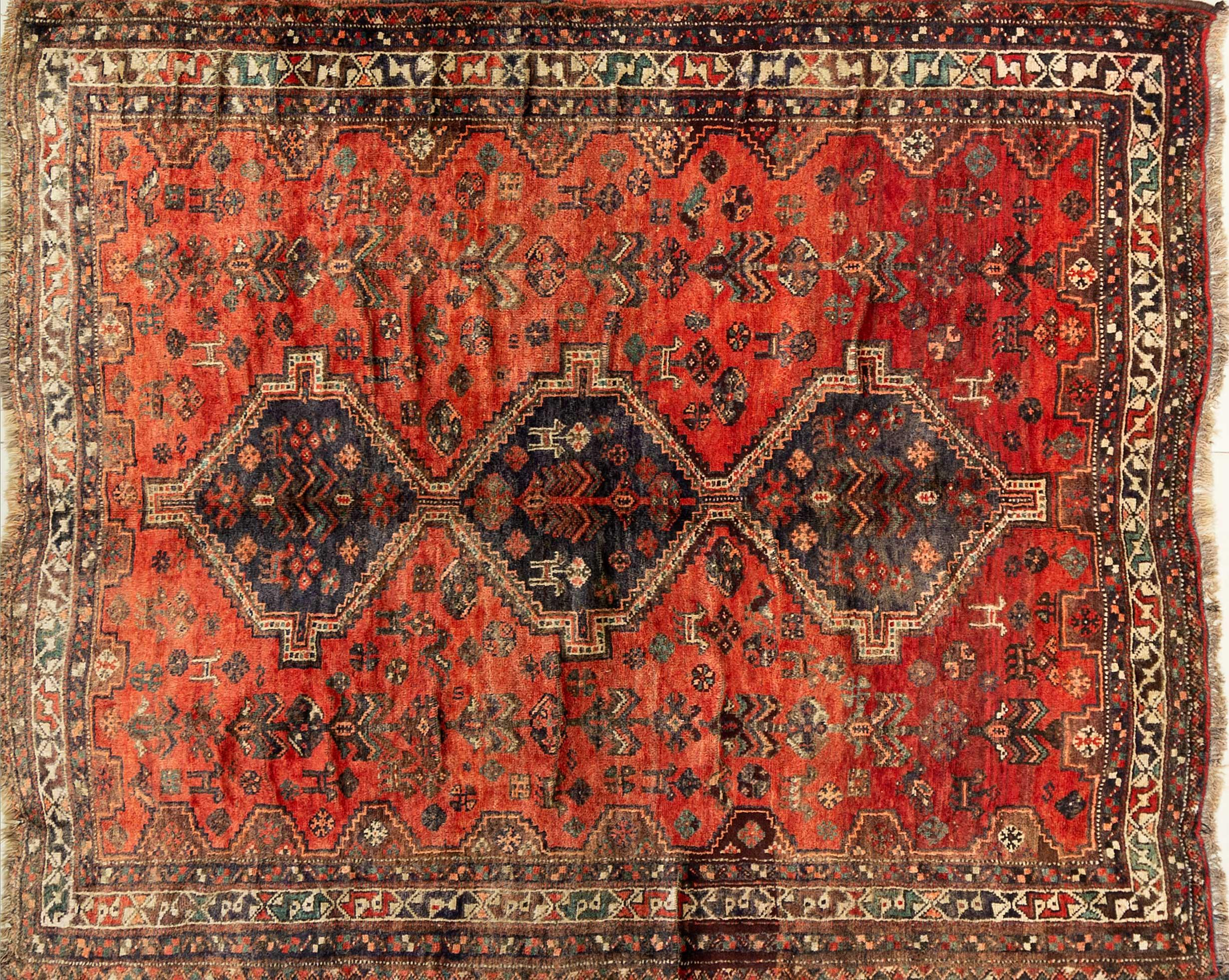 A Persian Hand Knotted Shiraz Rug, 205 x 170