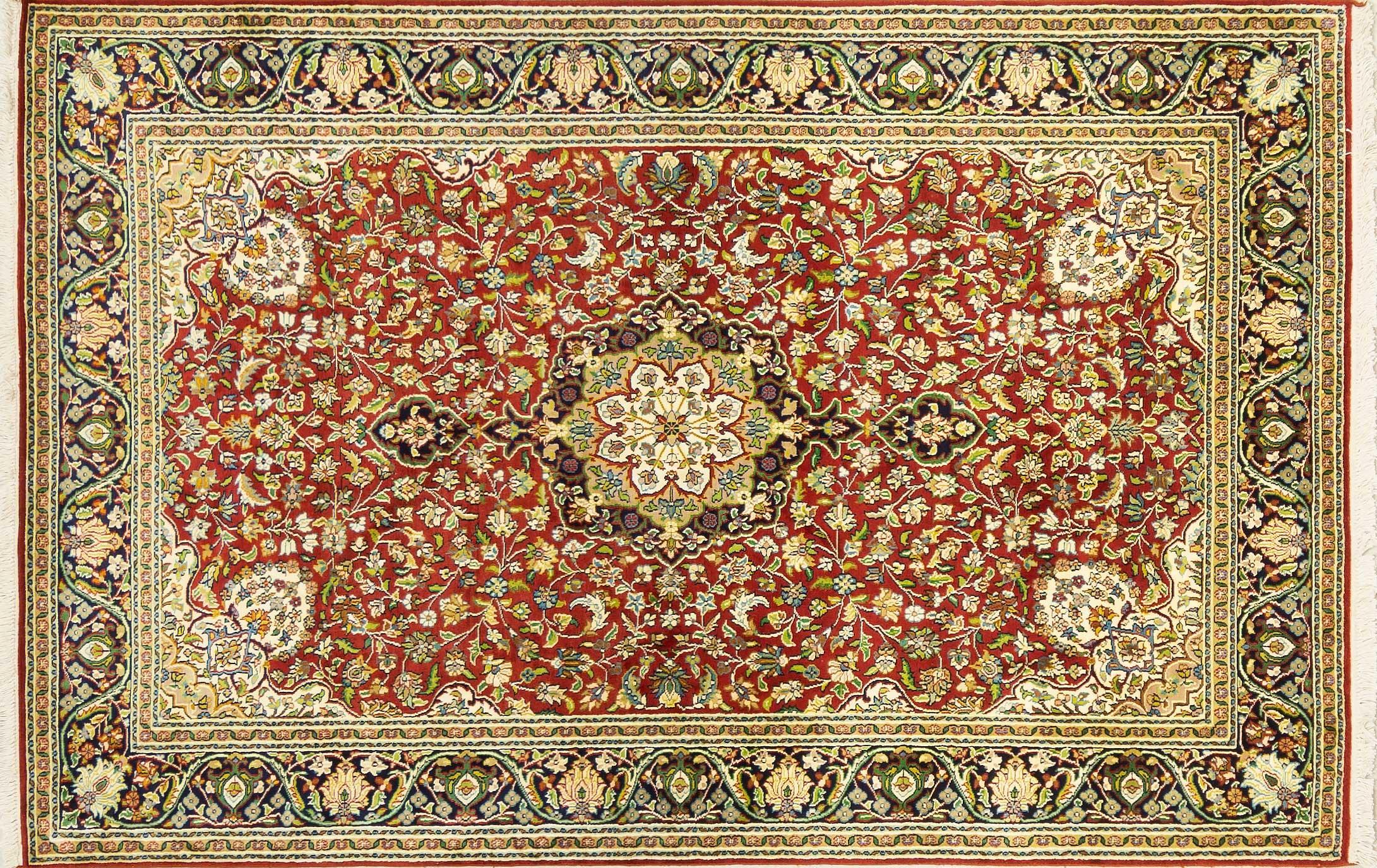 A Hand Knotted Silk Keshmiri Rug, 190 x 120