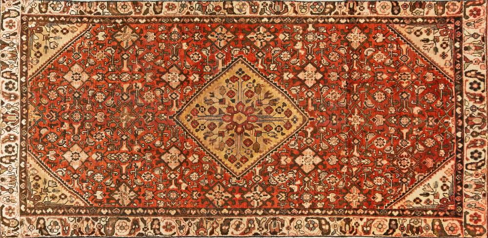 A Persian Hand Knotted Hamadan Rug, 296 x 146