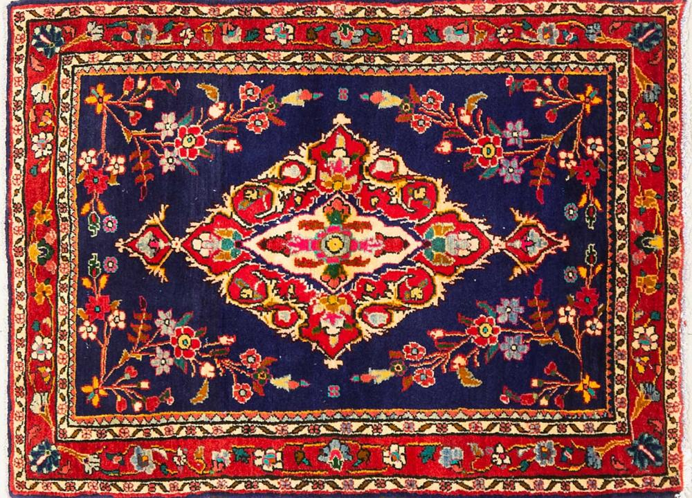 A Persian Hand Knotted Hamadan Rug, 143 x 107