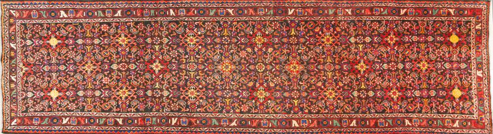 A Persian Hand Knotted Hosseinabad Runner, 400 x 115