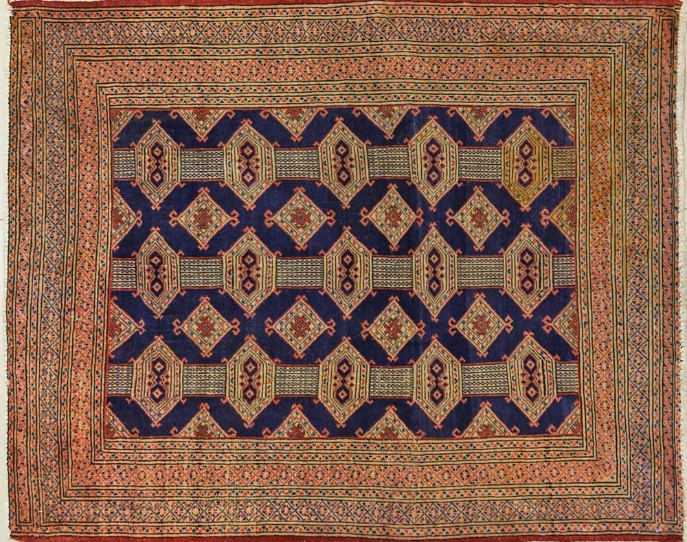 A Persian Hand Knotted Turkaman Rug, 147 x 114