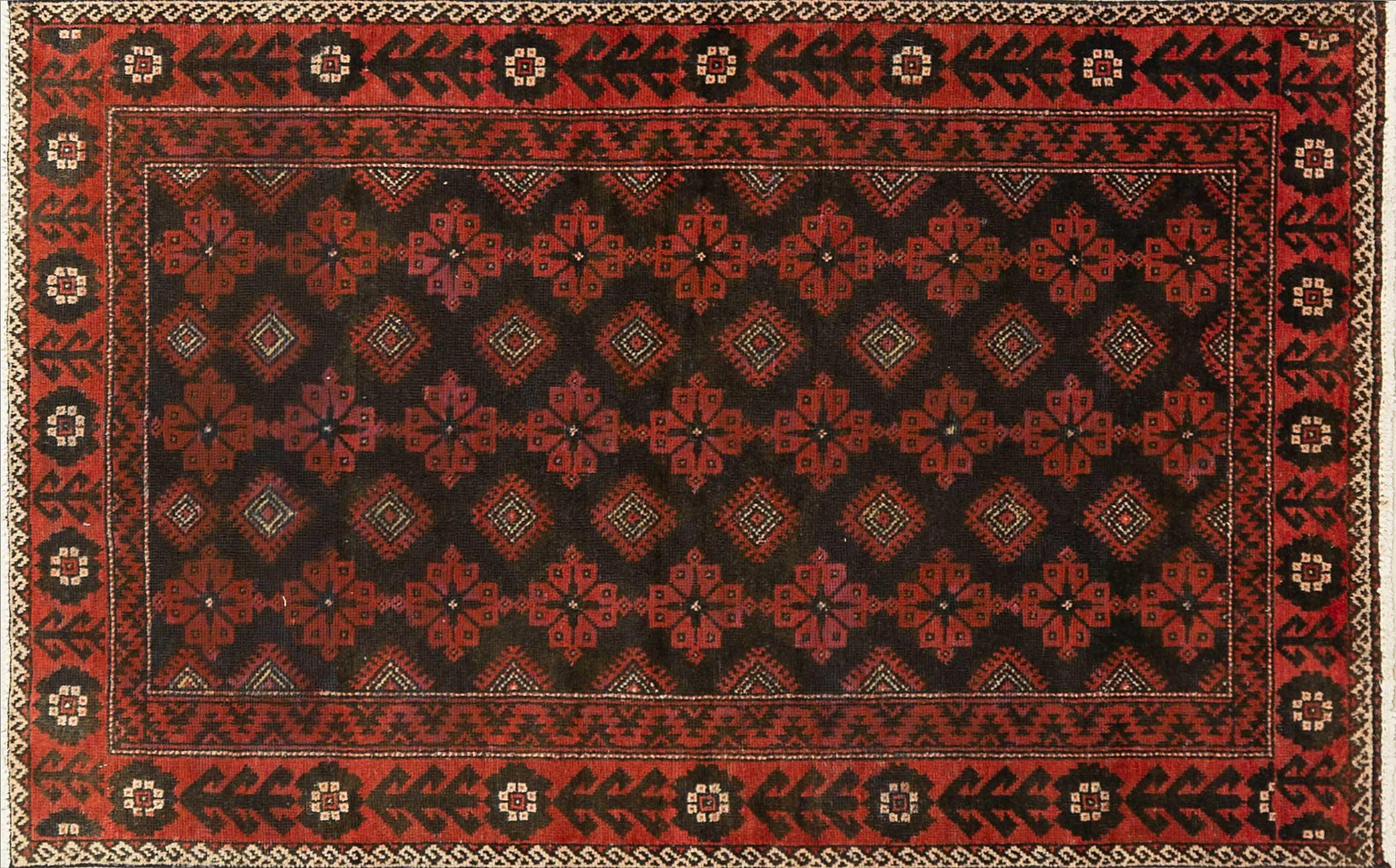 A Persian Hand Knotted Beluchi Rug, 193 x 123