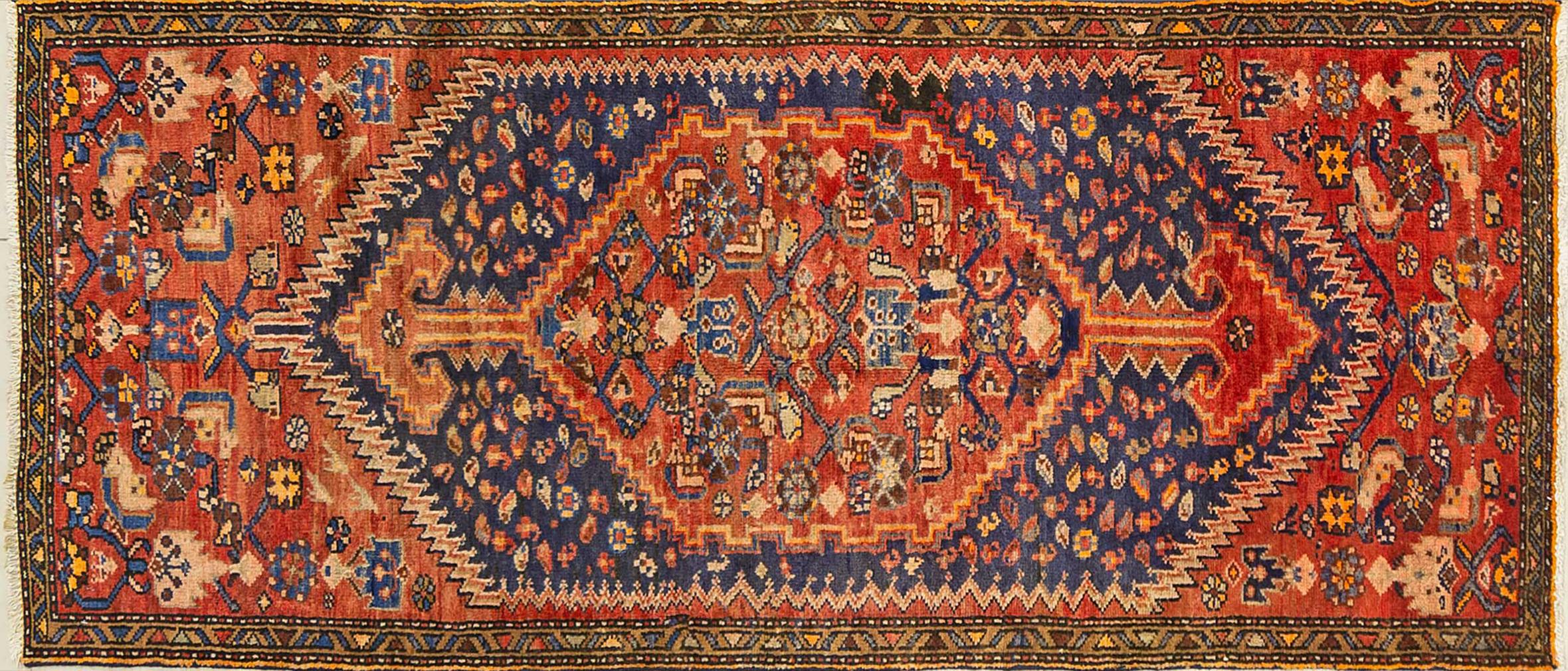 A Persian Hand Knotted Hamadan Rug, 204 x 88