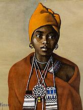 """Constance Helen Greaves (SA 1882 - 1966) Mixed Media, """"Nosiswe, Tembu Cala"""", Signed & Dated `56 & Titled Verso, 28 x 25"""