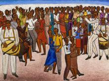 """Alfred Thoba (SA, born 1951) Oil, """"Zulu Traditional Dreams"""", Signed & Titled Verso, 52 x 74"""