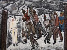 "Alfred Thoba (SA, born 1951) Oil, ""Marikana Underground"", Signed & Titled Verso, 58 x 80"