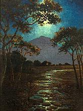 Leo Auguste Francois (SA 1870 - 1938) Oil, Moonlit Lake, Signed, 34 x 24