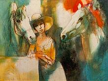 Jean Baptiste (Johnny) Valadie (French, born 1933) Oil, Girl and Horses, Signed, 52 x 71