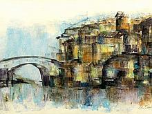 Lola Dunston De Paola (Italian, born 1922) Pastel, Venice Scene, Signed & Dated 1982, 32 x 55
