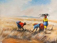 Berthold Moyo (Zimbabwean, born 1974) Oil, Gathering Firewood, Signed, 65 x 85