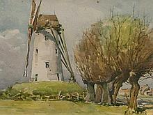 Edith Louise Mary King (SA 1871 - 1962) Watercolour, Windmill, Signed, 19 x 30