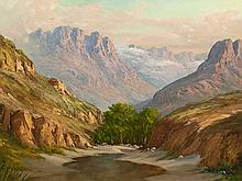 J.L. Faure (SA 20th C) Oil, Mountain Landscape with River, Signed, 60 x 90