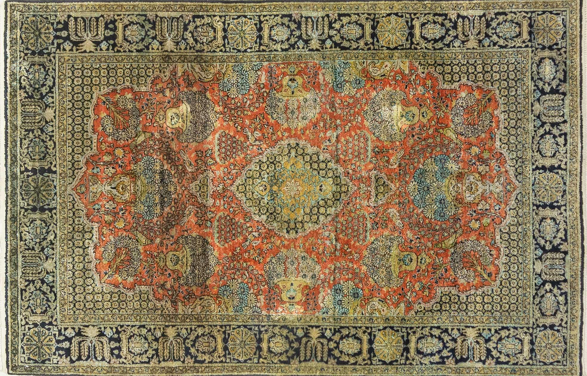 A Persian Hand Knotted Pure Silk Qum Rug, 165 X 108