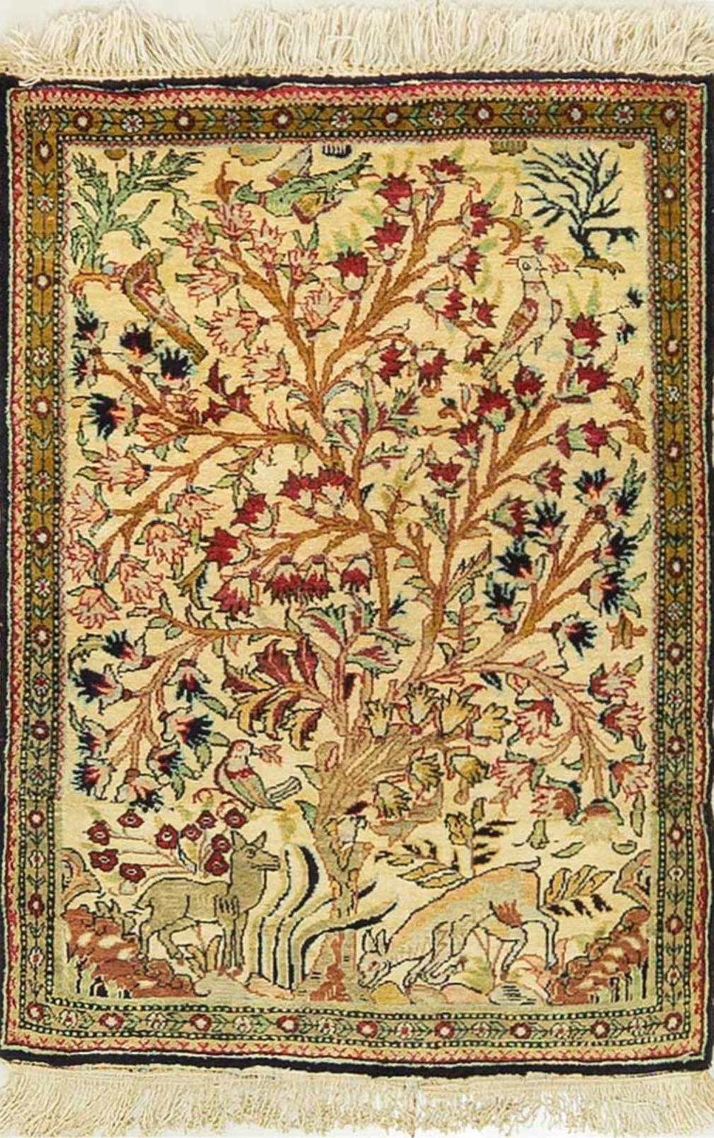 A Persian Hand Knotted Pure Silk Qum Rug, 82 X 56