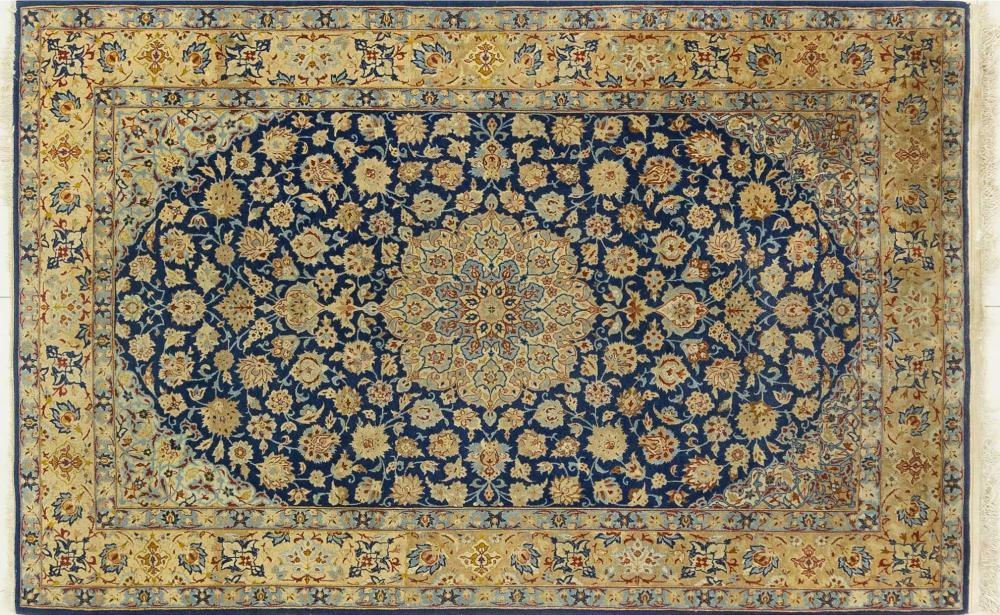 A Persian Hand Knotted Wool and Silk Isfahan Rug, 170 X 108
