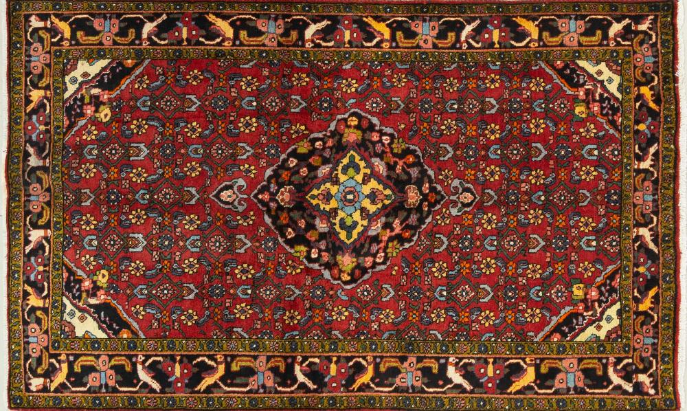 A Persian Hand Knotted Hamadan Rug, 205 X 123