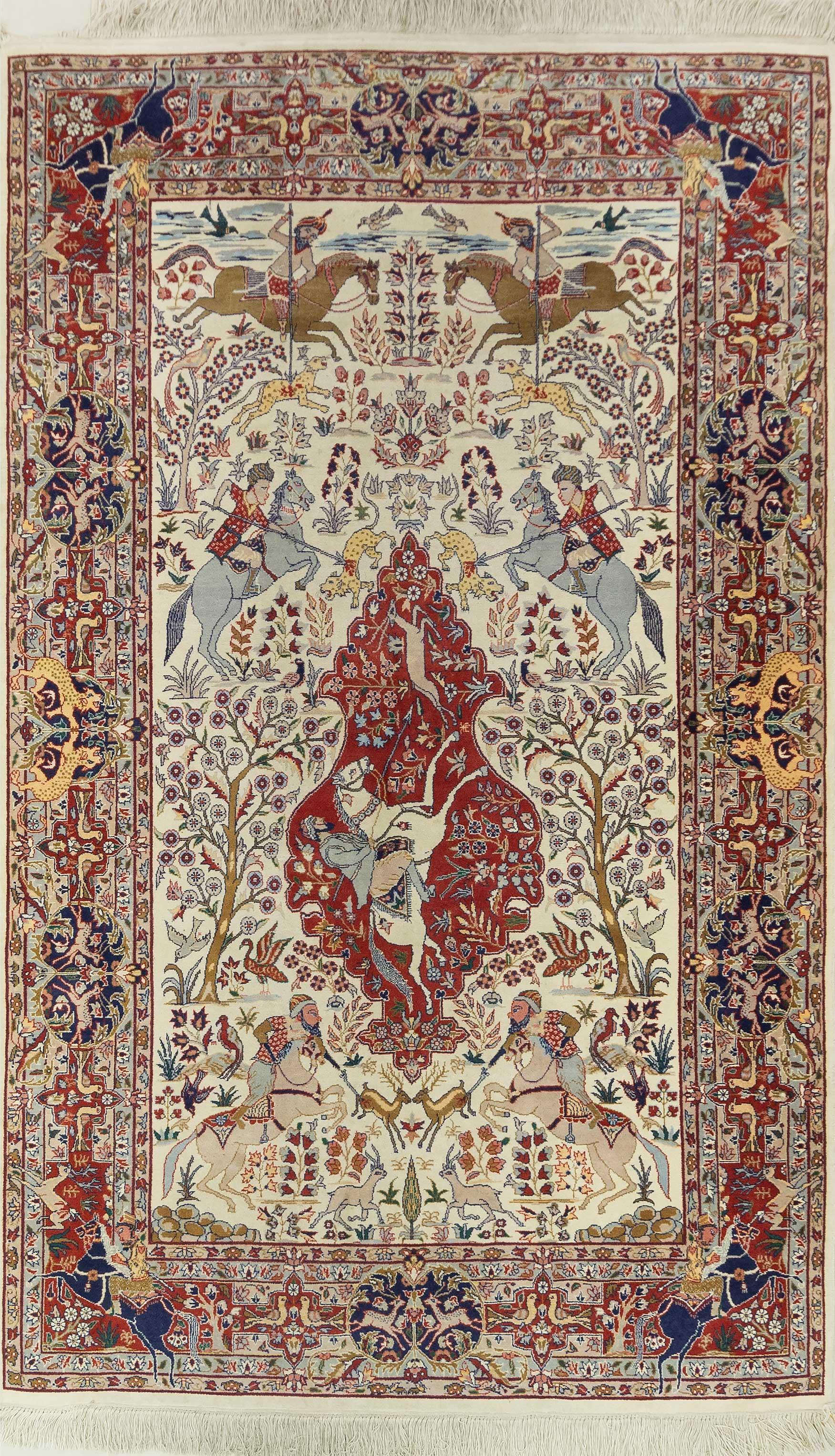 A Persian Hand Knotted Pictorial Qum Rug, 251 X 154