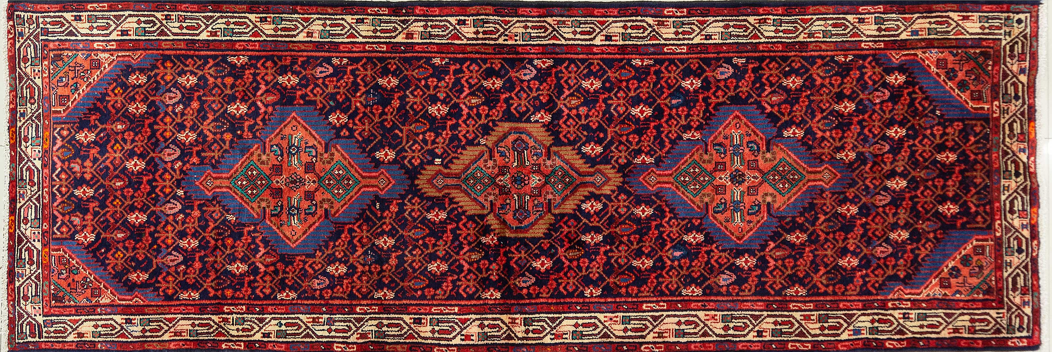 A Persian Hand Knotted Hamadan Runner, 318 X 110