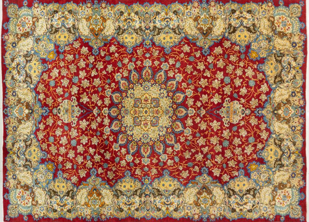 A Persian Hand Knotted Kerman Carpet, 391 X 285