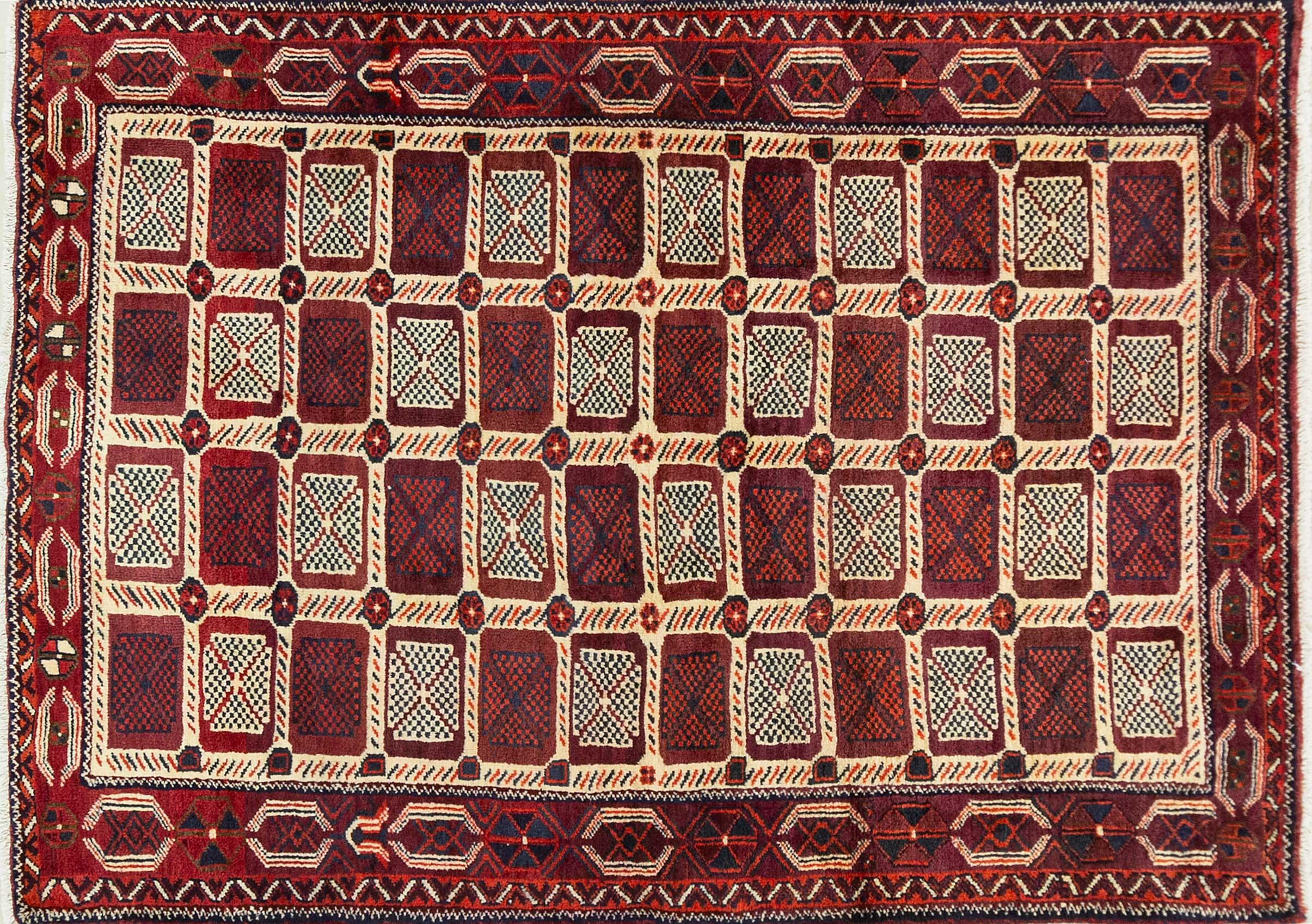 A Persian Hand Knotted Turkaman Rug, 207 X 148