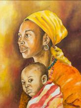 Berthold Moyo (Zimbabwean, born 1974) 2 x Oils, Mother & Child, Signed & Dated '08, 60 x 45 each