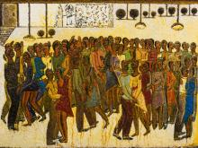 Alfred Thoba (SA, born 1951) Oil, Dance Club, Signed & Inscribed Verso, 58 x 76