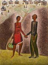 """Alfred Thoba (SA, born 1951) Oil, """"My Fancy Make Me Feel Tall"""", Signed & Titled Verso, 60 x 45"""