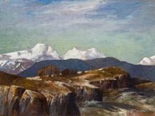 Leo Auguste Francois (SA 1870 - 1938) Oil, Mountains, Signed, 26 x 36
