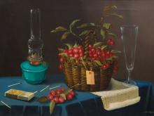 Silvio Ottaviani (Italian, born 1933) Oil, Still Life Cherries & Glass, Signed, 50 x 70