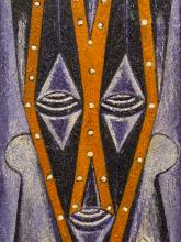 """Alfred Thoba (SA, born 1951) Oil, """"My Spiritual Self Portrait"""", Signed Dated 2001 & Titled Verso, 70 x 32"""