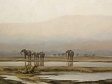 Kim Donaldson (SA, born 1952) Oil, Elephant Herd, Signed, 74 x 120
