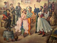 Dezso Koenig (SA 1902 - 1972) Oil, Revellers in a Country Inn, Signed, 122 x 152