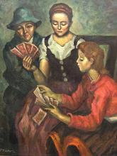Dezso Koenig (SA/HUNG 1902 - 1972) Oil, 3 Girls Playing Cards, , 50 x 61