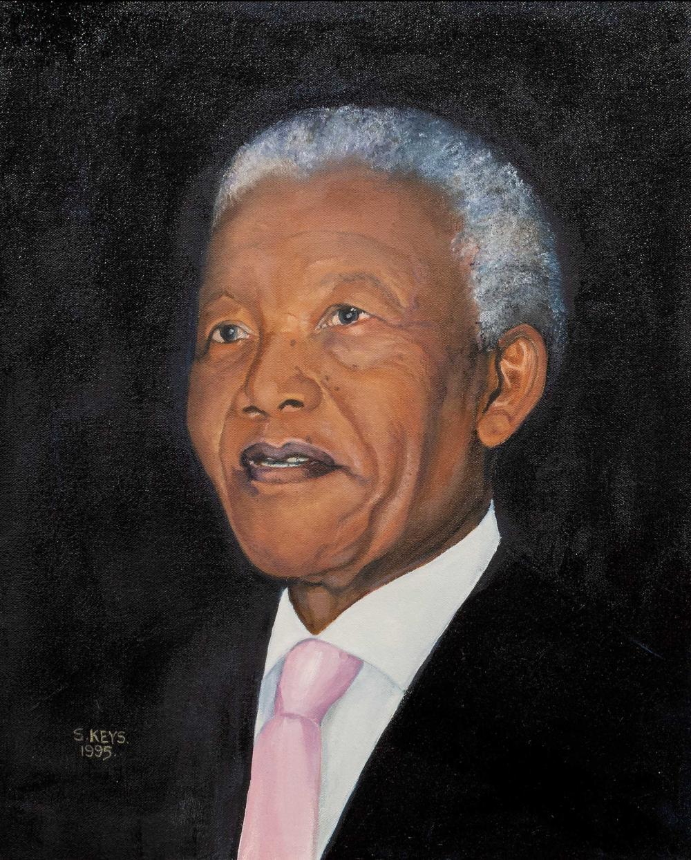 "Silma Keys (SA 20th C) Oil, ""Madiba"", Signed & Dated 1995 Titled Verso, 44 x 35"