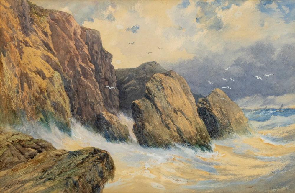 Hesketh Davis Bell (British c.1830 - ?) Pastel, Coastal Scene, Signed & Dated '88, 31 x 47