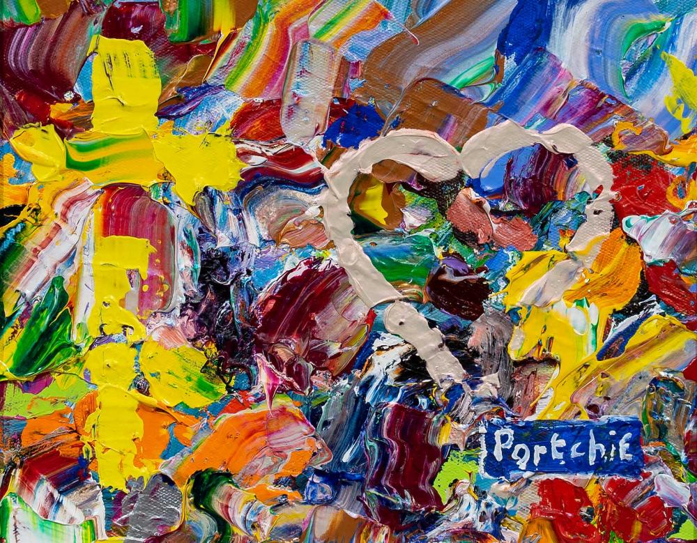 """Portchie (SA, born 1963) Oil, """"Abstract with Heart & Cross"""", Signed Titled, 20 x 24"""