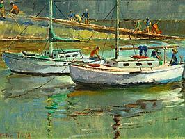 Natalie Field (SA 1898 - 1977) Oil, Harbour Scene,