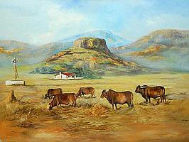 Berthold Moyo (Zimbabwean born 1974) Oil, Mountain